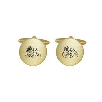 Brushed Metal Cuff Links-Fresno State-Gold