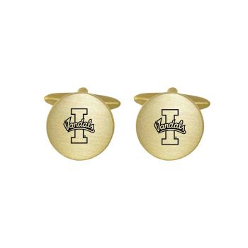 Brushed Metal Cuff Links-University of Idaho -Gold