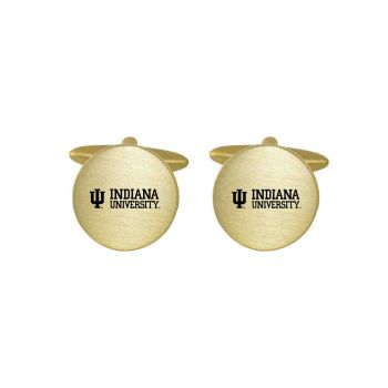 Brushed Metal Cuff Links-Indiana University-Gold