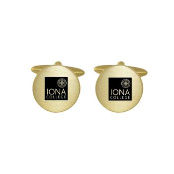 Brushed Metal Cuff Links-Iona College-Gold