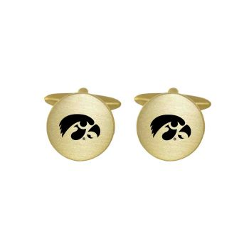 Brushed Metal Cuff Links-University of Iowa-Gold