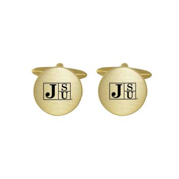 Brushed Metal Cuff Links-Jackson State University-Gold
