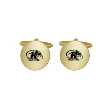Brushed Metal Cuff Links-Kent State University-Gold