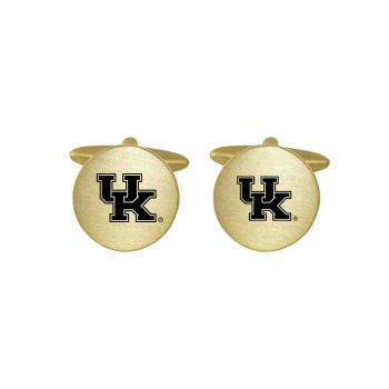 Brushed Metal Cuff Links-University of Kentucky-Gold