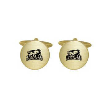 Brushed Metal Cuff Links-La Salle State University-Gold
