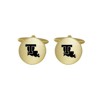Brushed Metal Cuff Links-Louisiana Tech University -Gold