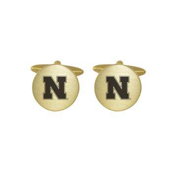 Brushed Metal Cuff Links-University of Nebraska-Gold
