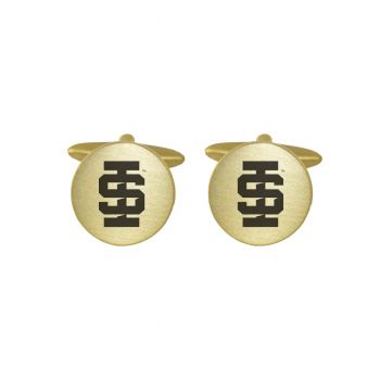 Brushed Metal Cuff Links-Idaho State University -Gold