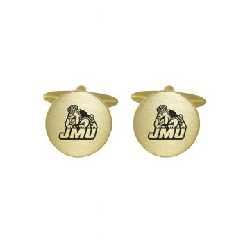 Brushed Metal Cuff Links-James Madison University-Gold