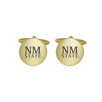 Brushed Metal Cuff Links-New Mexico State-Gold