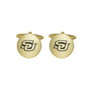 Brushed Metal Cuff Links-Southern University-Gold