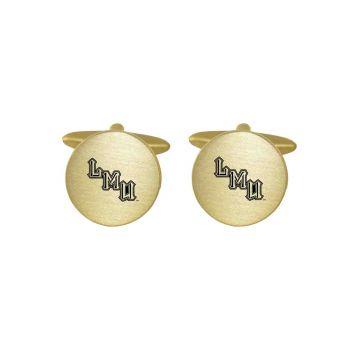 Brushed Metal Cuff Links-Loyola Marymount University-Gold