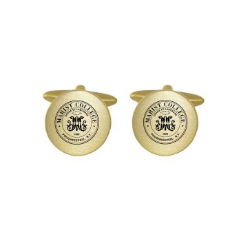 Brushed Metal Cuff Links-Marist College-Gold