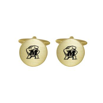 Brushed Metal Cuff Links-University of Maryland-Gold