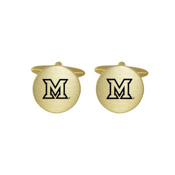 Brushed Metal Cuff Links-Miami University-Gold