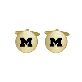 Brushed Metal Cuff Links-University of Michigan-Gold