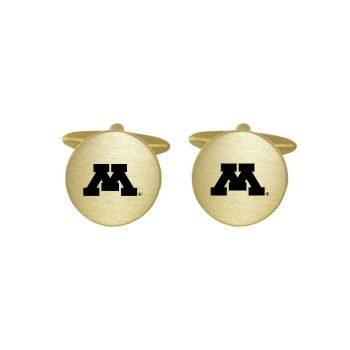 Brushed Metal Cuff Links-University of Minnesota-Gold
