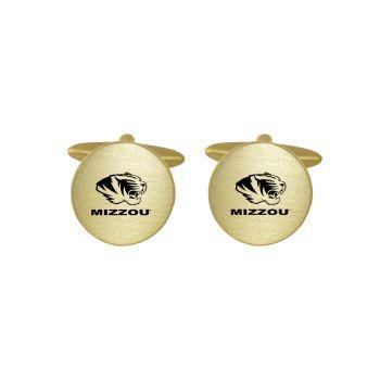 Brushed Metal Cuff Links-University of Missouri -Gold