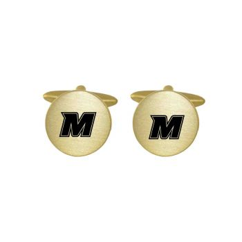Brushed Metal Cuff Links-Monmouth University -Gold