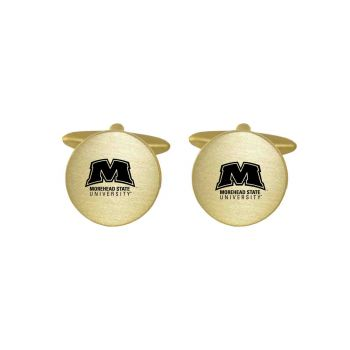 Brushed Metal Cuff Links-Morehead State University -Gold
