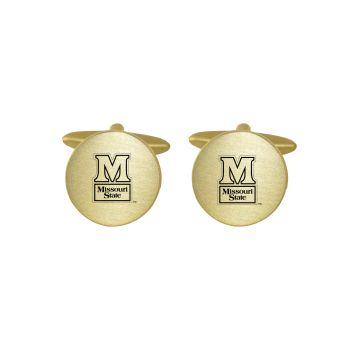 Brushed Metal Cuff Links-Missouri State University-Gold