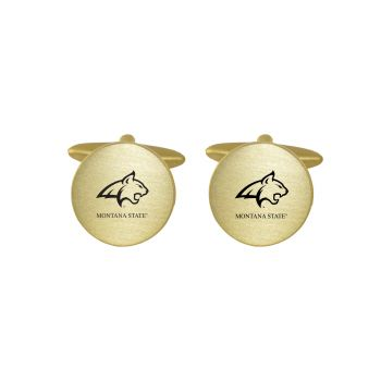 Brushed Metal Cuff Links-Montana State University-Gold