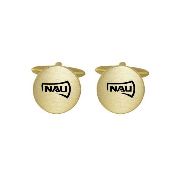 Brushed Metal Cuff Links-Northern Arizona University-Gold