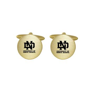 Brushed Metal Cuff Links-University of North Dakota-Gold