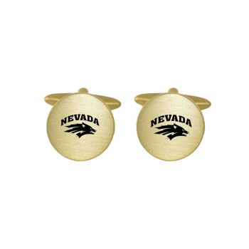 Brushed Metal Cuff Links-University of Nevada-Gold