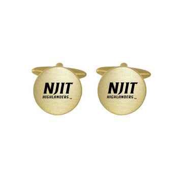 Brushed Metal Cuff Links-New Jersey institute of Technology-Gold