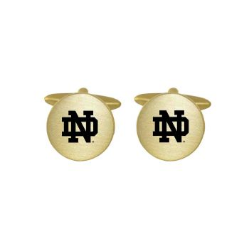 Brushed Metal Cuff Links-University of Notre Dame-Gold