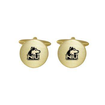 Brushed Metal Cuff Links-Northern Illinois University -Gold