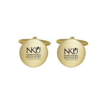 Brushed Metal Cuff Links-Northern Kentucky University -Gold