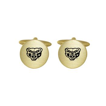 Brushed Metal Cuff Links-Oakland University-Gold