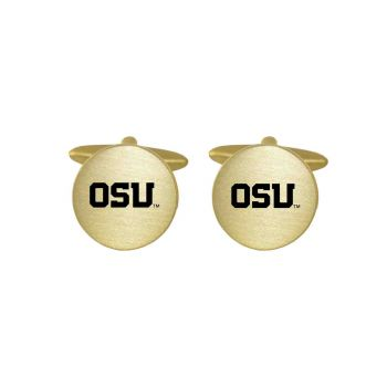 Brushed Metal Cuff Links-Oregon State University-Gold