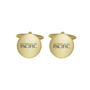 Brushed Metal Cuff Links-University of The Pacific -Gold
