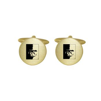 Brushed Metal Cuff Links-Pittsburg State University-Gold