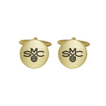 Brushed Metal Cuff Links-Saint Mary's College of California-Gold