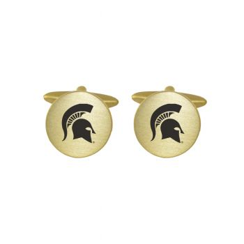 Brushed Metal Cuff Links-Michigan State University-Gold