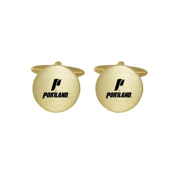 Brushed Metal Cuff Links-The University of Portland-Gold