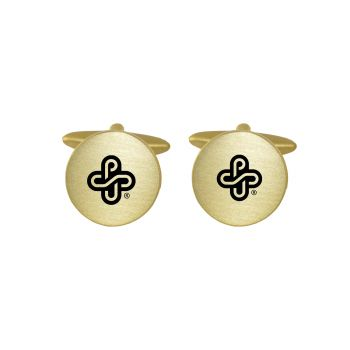 Brushed Metal Cuff Links-Portland State University-Gold