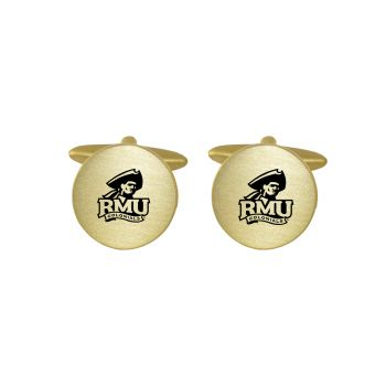 Brushed Metal Cuff Links-Robert Morris University-Gold