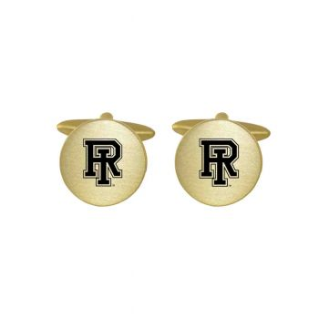 Brushed Metal Cuff Links-The University of Rhode Island-Gold
