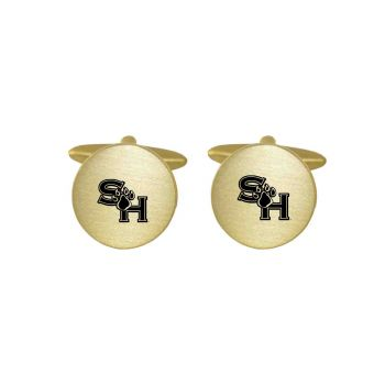 Brushed Metal Cuff Links-Sam Houston State University-Gold