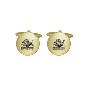 Brushed Metal Cuff Links-Savannah State University-Gold