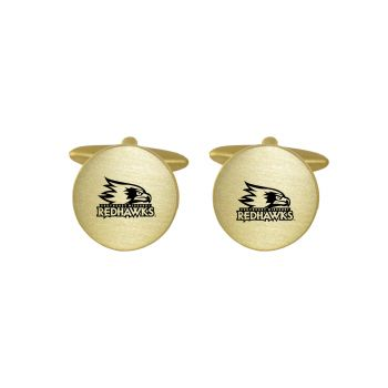 Brushed Metal Cuff Links-Southeast Missouri State University-Gold