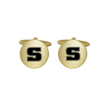 Brushed Metal Cuff Links-Slippery Rock University-Gold