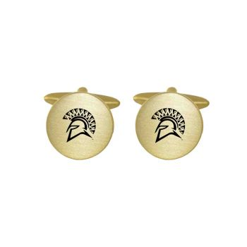 Brushed Metal Cuff Links-San Jose State University-Gold