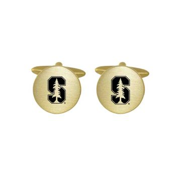Brushed Metal Cuff Links-Stanford University-Gold