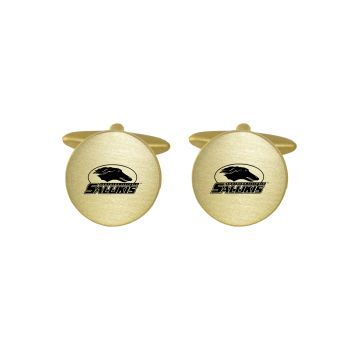Brushed Metal Cuff Links-Southern Illinois University-Gold